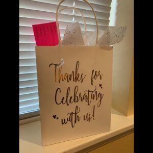 "LaRibbons Medium Size Gift Bags - Gold Foil""Thanks for celebrating with us"" White Paper Bags wi..."