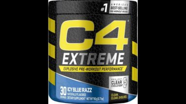 C4 Ripped Pre Workout Powder Icy Blue Razz  Creatine Free + Sugar Free Preworkout Energy Suppl...