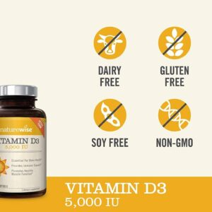 NatureWise Vitamin D3 5,000 IU (1 Year Supply) for Healthy Muscle Function, Bone Health, and Im...