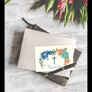 Christian Thank You Cards - 48-Pack Thank You Note Cards Ideal for Christening, Communion, Wedd...