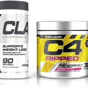 C4 Ripped Pre Workout Powder Raspberry Lemonade  Creatine Free + Sugar Free Preworkout Energy...